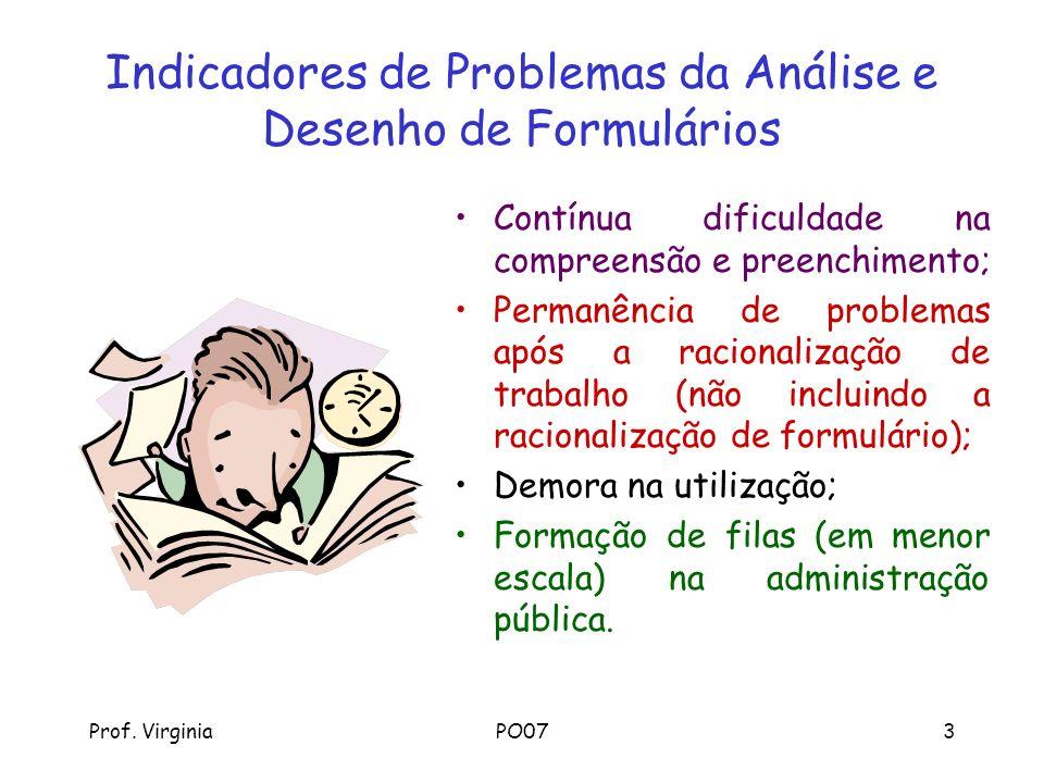 Prof. VirginiaPO073 Indicadores de Problemas da Análise e Desenho de Formulários Contínua dificuldade na compreensão e preenchimento; Permanência de p