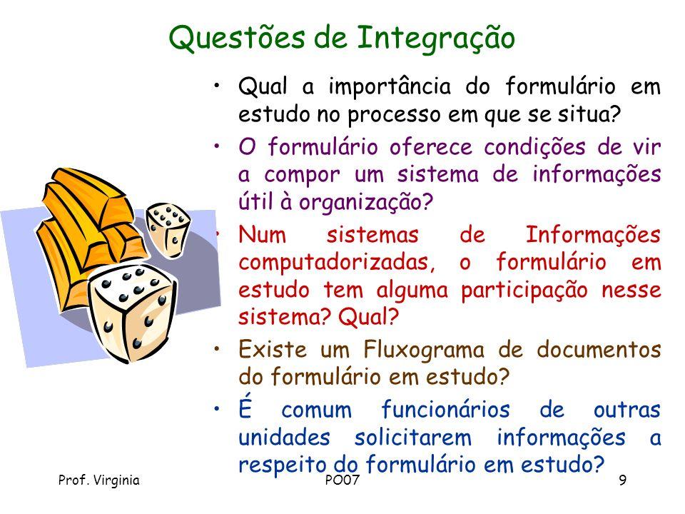 Prof. VirginiaPO079 Questões de Integração Qual a importância do formulário em estudo no processo em que se situa? O formulário oferece condições de v