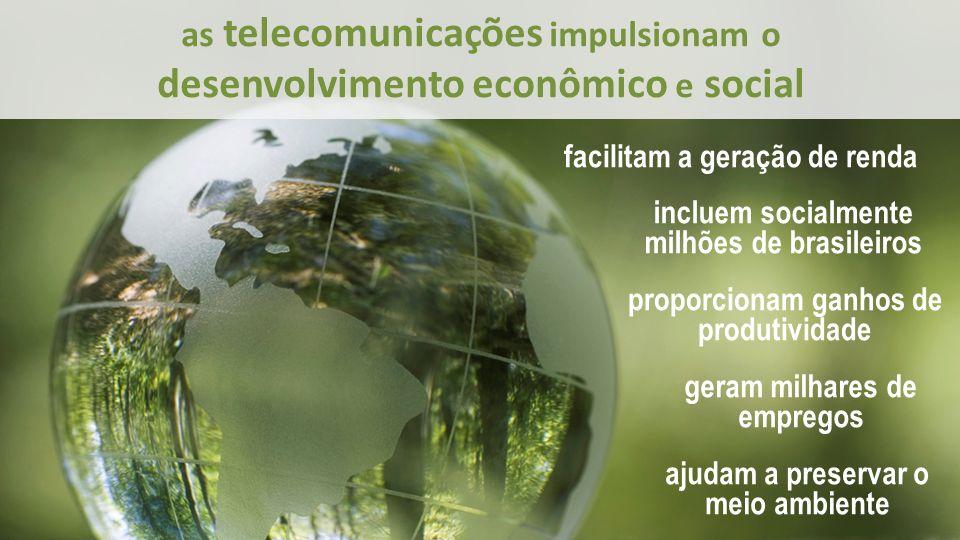 as telecomunicações impulsionam o desenvolvimento econômico e social facilitam a geração de renda incluem socialmente milhões de brasileiros proporcionam ganhos de produtividade geram milhares de empregos ajudam a preservar o meio ambiente