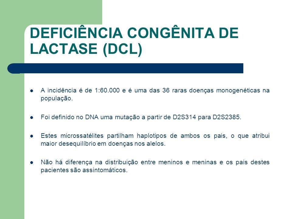 DEFICIÊNCIA CONGÊNITA DE LACTASE (DCL) O diagnóstico é de fácil confirmação desde que seja suspeitado.