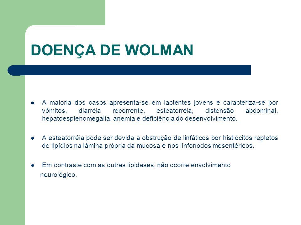 DOENÇA DE WOLMAN A radiografia simples de abdome geralmente é diagnóstica pelo aspecto inconfundível das glândulas adrenais.