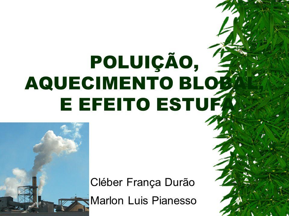 POLUIÇÃO, AQUECIMENTO BLOBAL, E EFEITO ESTUFA Cléber França Durão Marlon Luis Pianesso