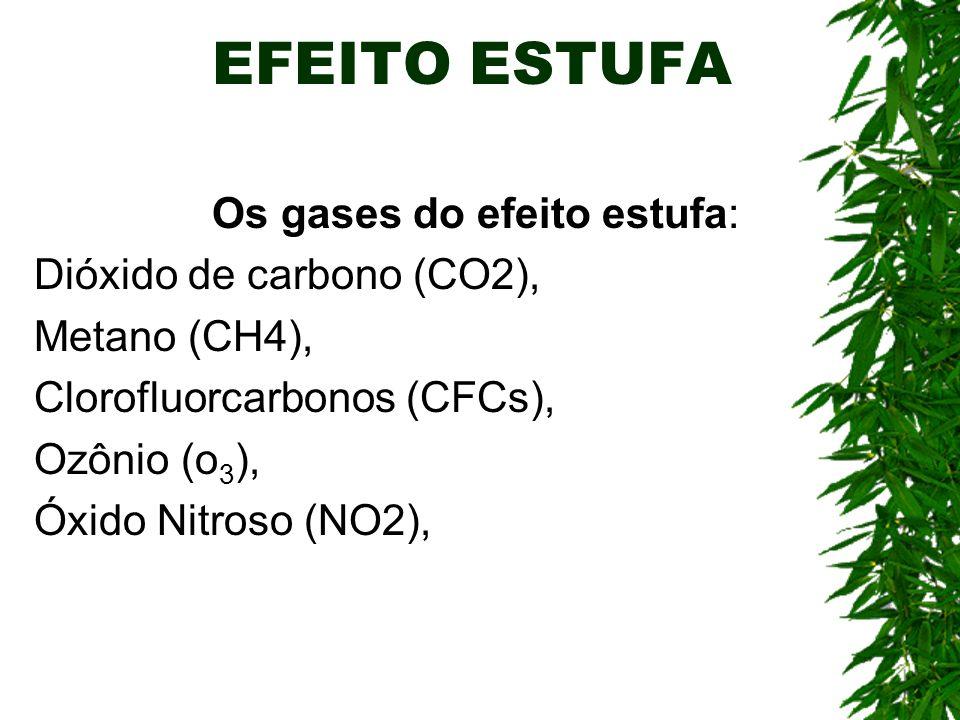 EFEITO ESTUFA Os gases do efeito estufa: Dióxido de carbono (CO2), Metano (CH4), Clorofluorcarbonos (CFCs), Ozônio (o 3 ), Óxido Nitroso (NO2),