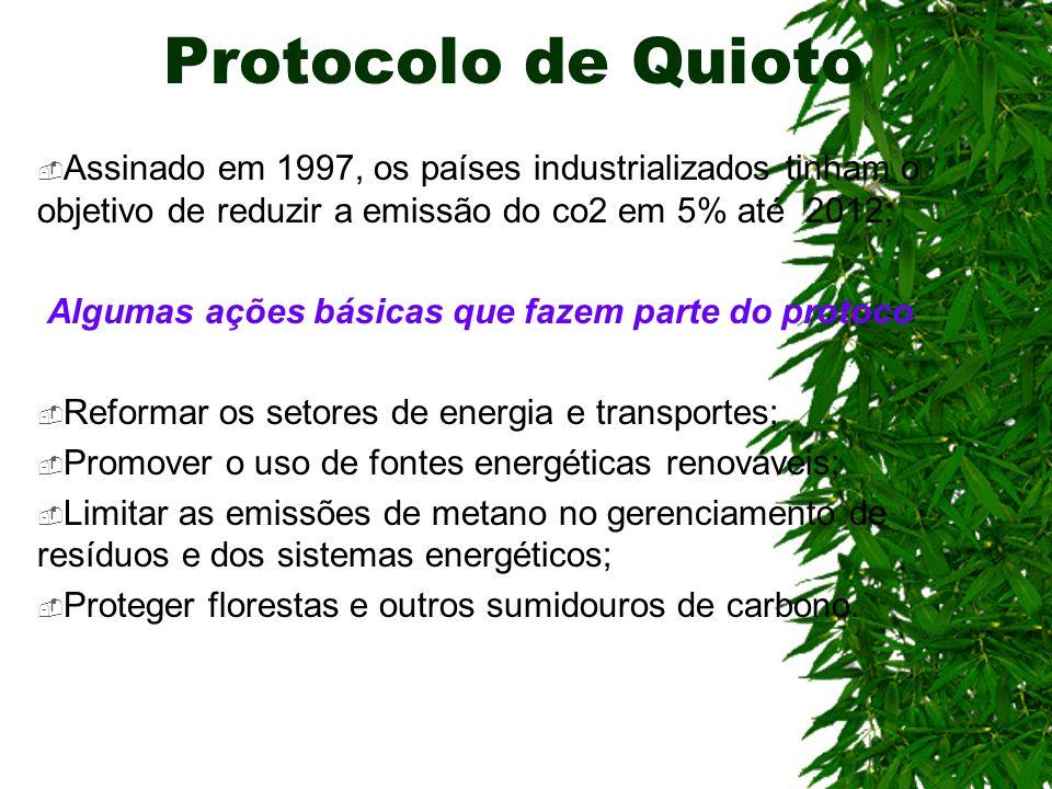 Protocolo de Quioto Assinado em 1997, os países industrializados tinham o objetivo de reduzir a emissão do co2 em 5% até 2012; Algumas ações básicas q