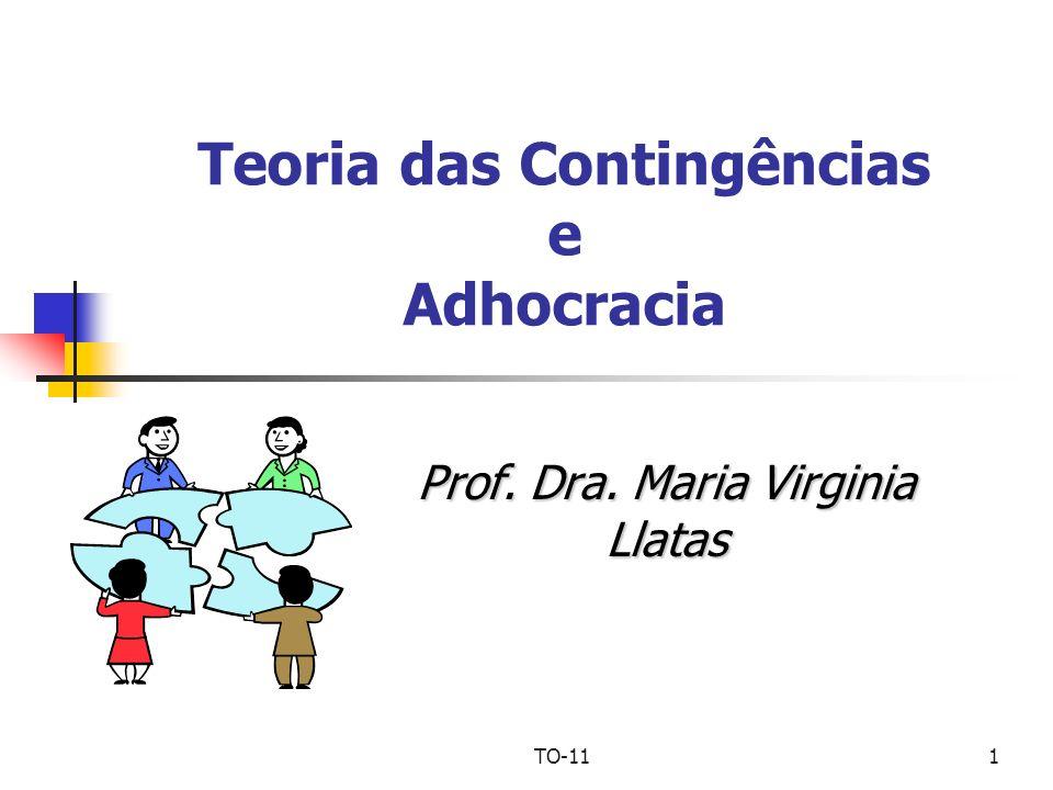 TO-111 Teoria das Contingências e Adhocracia Prof. Dra. Maria Virginia Llatas
