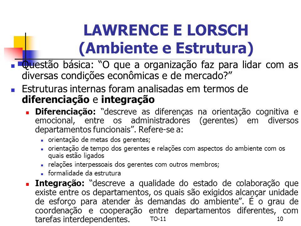TO-1110 LAWRENCE E LORSCH (Ambiente e Estrutura) Questão básica: O que a organização faz para lidar com as diversas condições econômicas e de mercado?