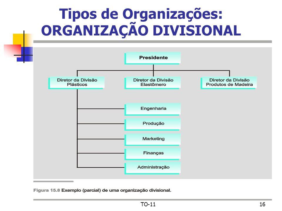 TO-1116 Tipos de Organizações: ORGANIZAÇÃO DIVISIONAL
