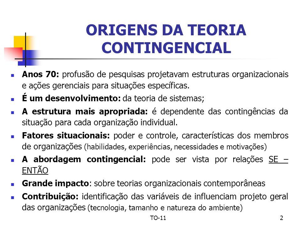 TO-112 ORIGENS DA TEORIA CONTINGENCIAL Anos 70: profusão de pesquisas projetavam estruturas organizacionais e ações gerenciais para situações específi
