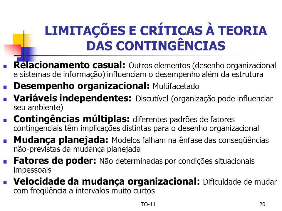 TO-1120 LIMITAÇÕES E CRÍTICAS À TEORIA DAS CONTINGÊNCIAS Relacionamento casual: Outros elementos (desenho organizacional e sistemas de informação) inf