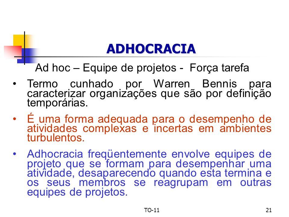 TO-1121 ADHOCRACIA Ad hoc – Equipe de projetos - Força tarefa Termo cunhado por Warren Bennis para caracterizar organizações que são por definição tem