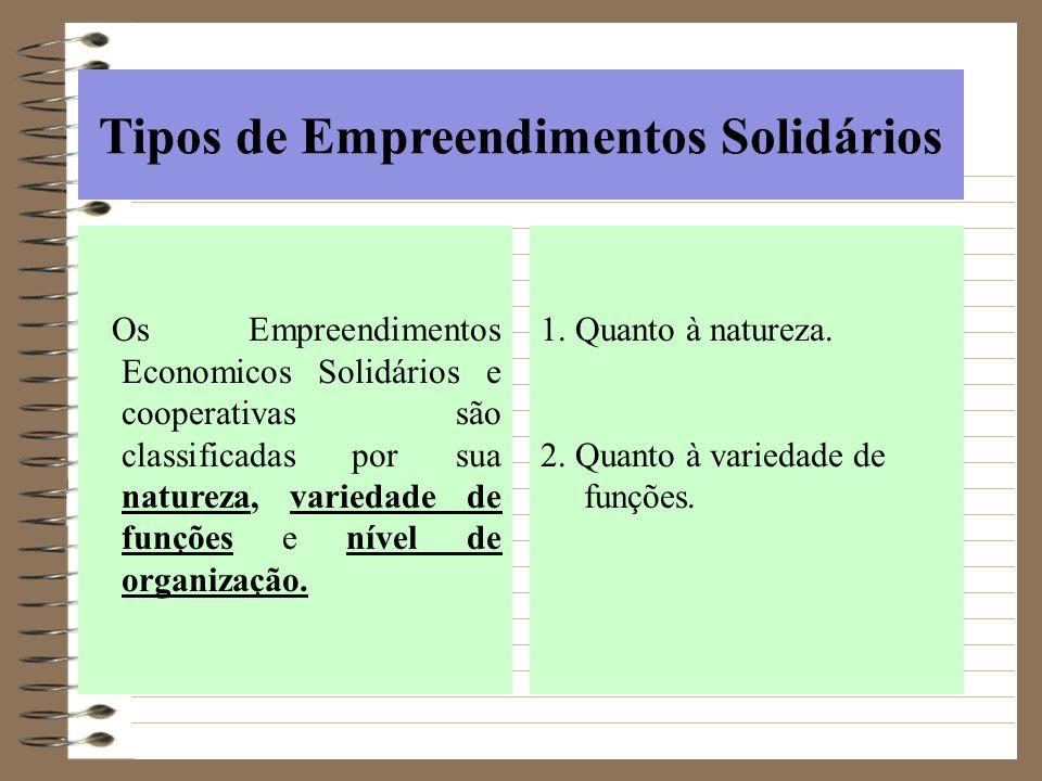 Tipos de Empreendimentos Solidários Os Empreendimentos Economicos Solidários e cooperativas são classificadas por sua natureza, variedade de funções e