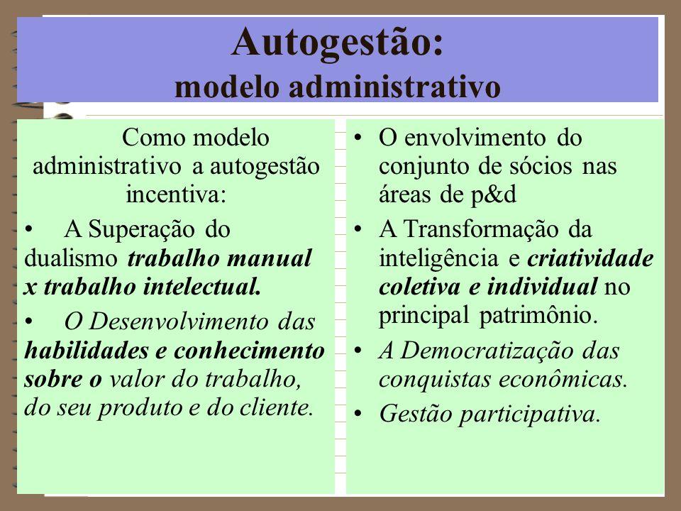 Autogestão: modelo administrativo Como modelo administrativo a autogestão incentiva: A Superação do dualismo trabalho manual x trabalho intelectual. O