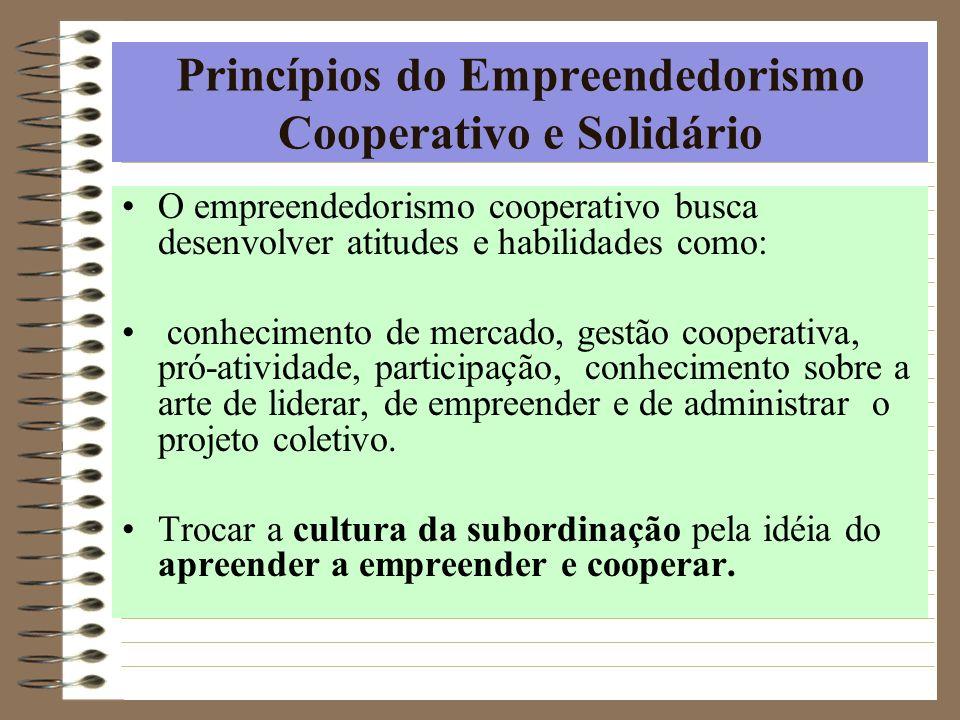Princípios do Empreendedorismo Cooperativo e Solidário O empreendedorismo cooperativo busca desenvolver atitudes e habilidades como: conhecimento de m