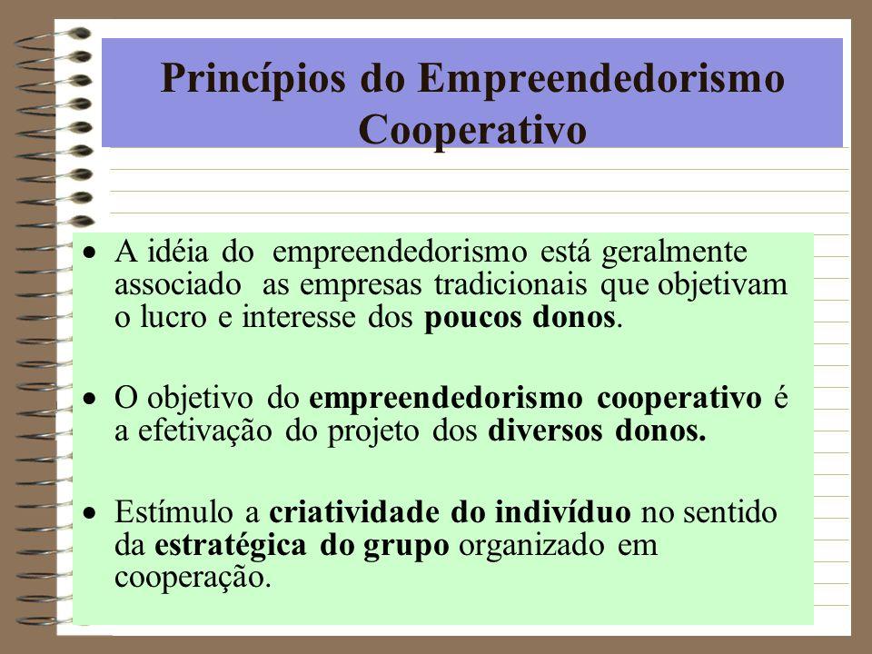 Princípios do Empreendedorismo Cooperativo A idéia do empreendedorismo está geralmente associado as empresas tradicionais que objetivam o lucro e inte