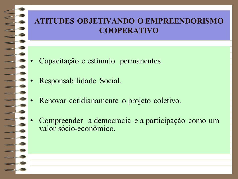 ATITUDES OBJETIVANDO O EMPREENDORISMO COOPERATIVO Capacitação e estímulo permanentes. Responsabilidade Social. Renovar cotidianamente o projeto coleti