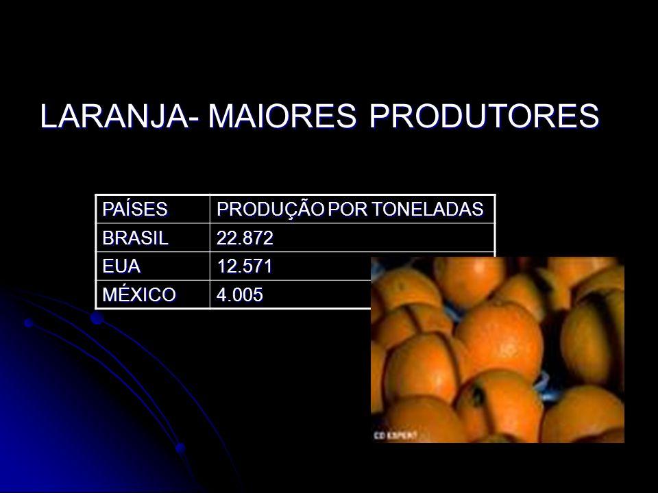 LARANJA- MAIORES PRODUTORES PAÍSES PRODUÇÃO POR TONELADAS BRASIL22.872 EUA12.571 MÉXICO4.005