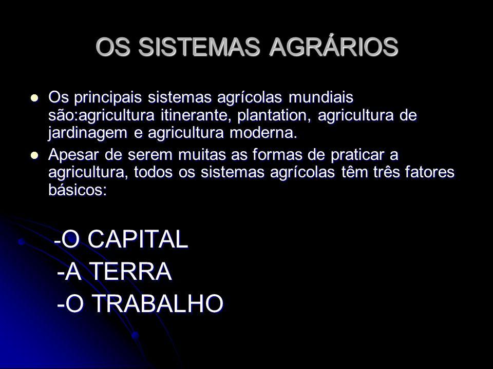 OS SISTEMAS AGRÁRIOS Os principais sistemas agrícolas mundiais são:agricultura itinerante, plantation, agricultura de jardinagem e agricultura moderna
