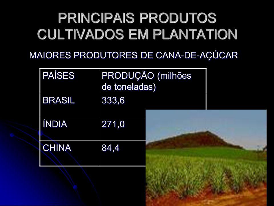 PRINCIPAIS PRODUTOS CULTIVADOS EM PLANTATION MAIORES PRODUTORES DE CANA-DE-AÇÚCAR MAIORES PRODUTORES DE CANA-DE-AÇÚCAR PAÍSES PRODUÇÃO (milhões de ton