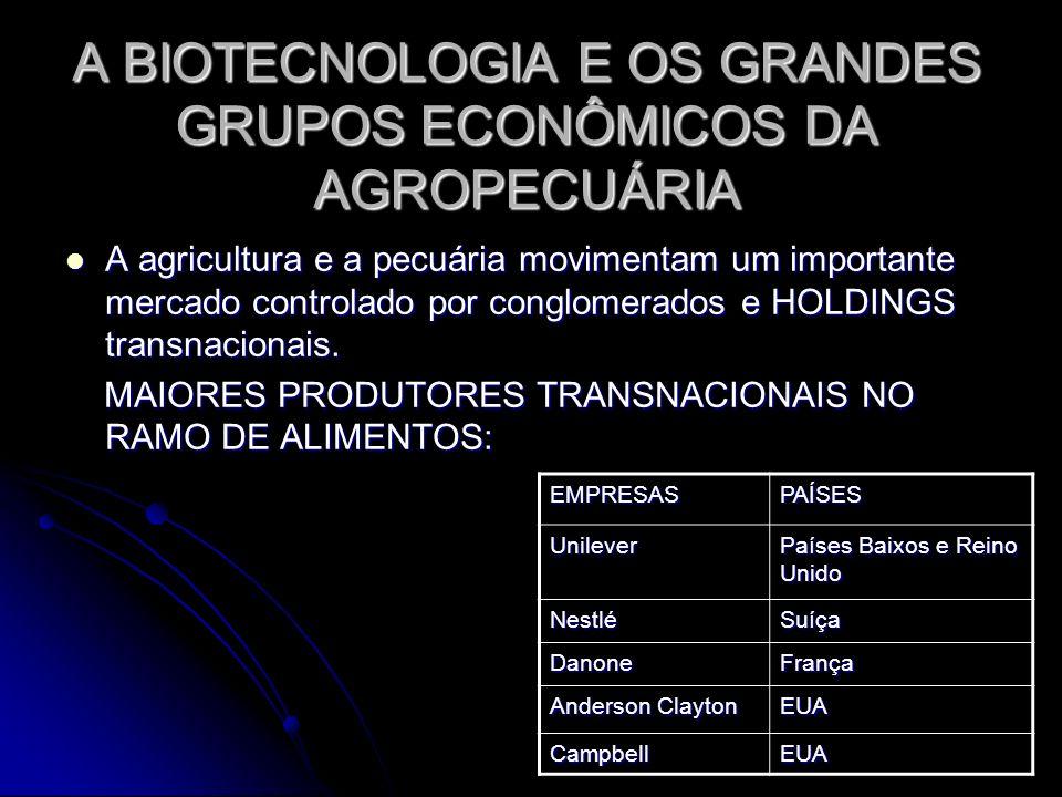 A BIOTECNOLOGIA E OS GRANDES GRUPOS ECONÔMICOS DA AGROPECUÁRIA A agricultura e a pecuária movimentam um importante mercado controlado por conglomerado