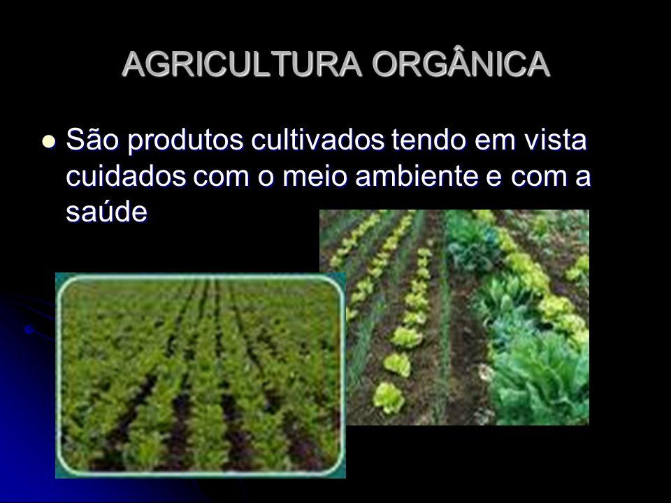 AGRICULTURA ORGÂNICA São produtos cultivados tendo em vista cuidados com o meio ambiente e com a saúde São produtos cultivados tendo em vista cuidados