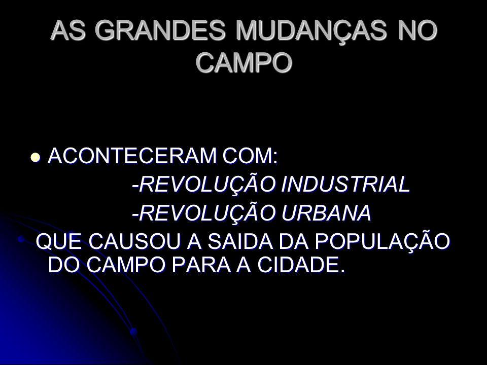 AS GRANDES MUDANÇAS NO CAMPO ACONTECERAM COM: ACONTECERAM COM: -REVOLUÇÃO INDUSTRIAL -REVOLUÇÃO INDUSTRIAL -REVOLUÇÃO URBANA -REVOLUÇÃO URBANA QUE CAU