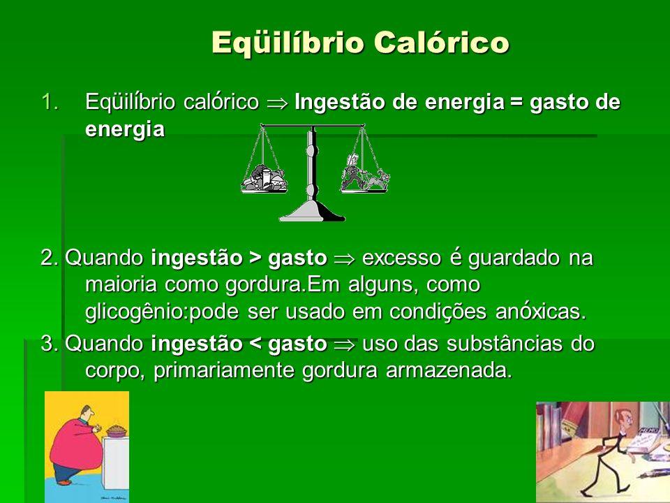 Eq ü ilíbrio Calórico Eq ü ilíbrio Calórico 1.Eq ü il í brio cal ó rico Ingestão de energia = gasto de energia 2. Quando ingestão > gasto excesso é gu