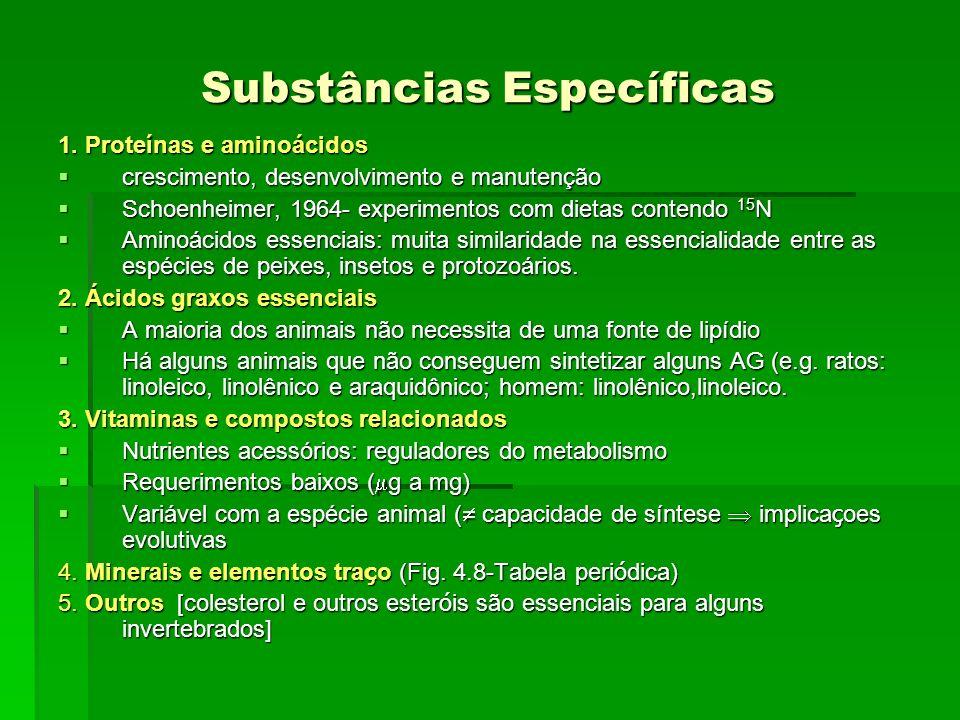 Substâncias Específicas 1. Proteínas e aminoácidos crescimento, desenvolvimento e manutenção crescimento, desenvolvimento e manutenção Schoenheimer, 1