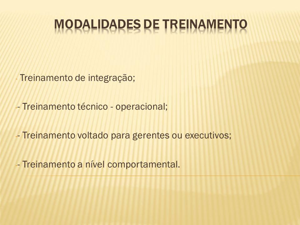 - Treinamento de integração; - - Treinamento técnico - operacional; - - Treinamento voltado para gerentes ou executivos; - - Treinamento a nível compo
