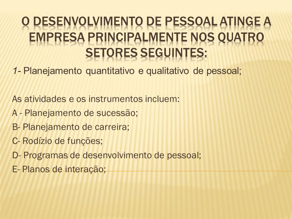 1- Planejamento quantitativo e qualitativo de pessoal; As atividades e os instrumentos incluem: A - Planejamento de sucessão; B- Planejamento de carre