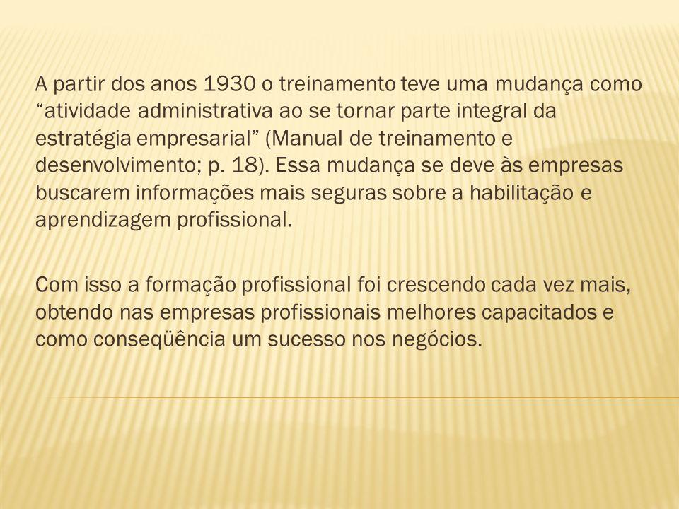 A partir dos anos 1930 o treinamento teve uma mudança como atividade administrativa ao se tornar parte integral da estratégia empresarial (Manual de t