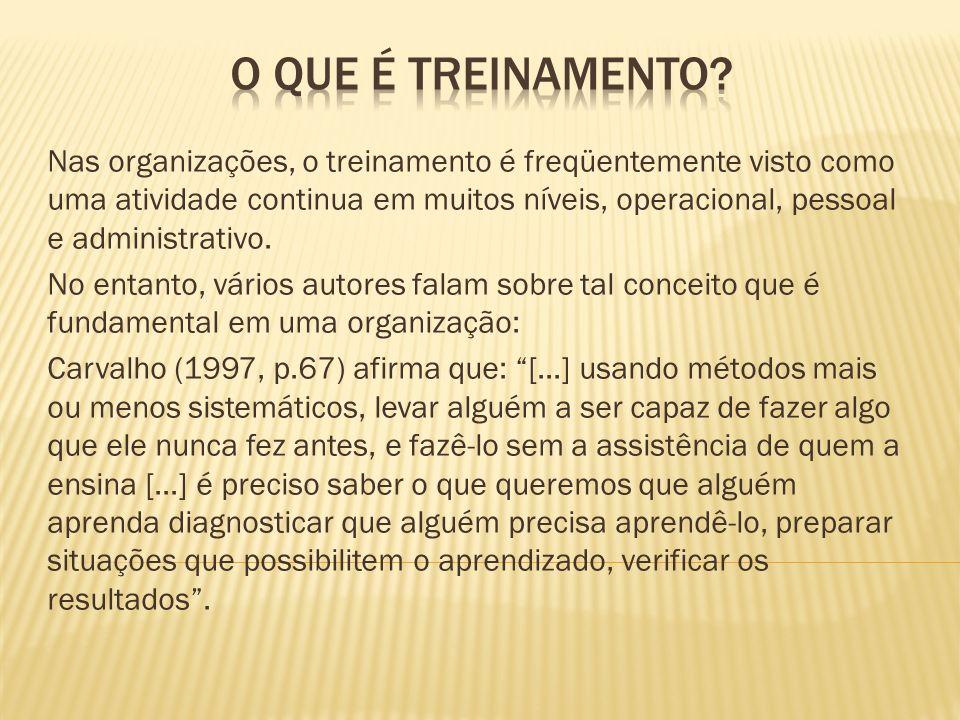 Segundo Patrícia Moreira Gonçalves – p.03 (Davies; 1973), define treinamento como sendo parte de uma atividade profissional, que capacita o individuo, a fim de otimizar os trabalhos realizados na organização, para tanto se faz necessário, a especialização do treinamento e dos instrutores.
