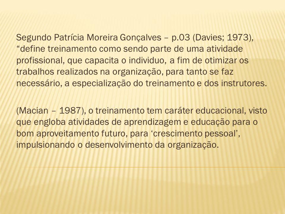 Segundo Patrícia Moreira Gonçalves – p.03 (Davies; 1973), define treinamento como sendo parte de uma atividade profissional, que capacita o individuo,