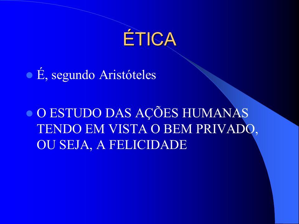 ÉTICA É, segundo Aristóteles O ESTUDO DAS AÇÕES HUMANAS TENDO EM VISTA O BEM PRIVADO, OU SEJA, A FELICIDADE