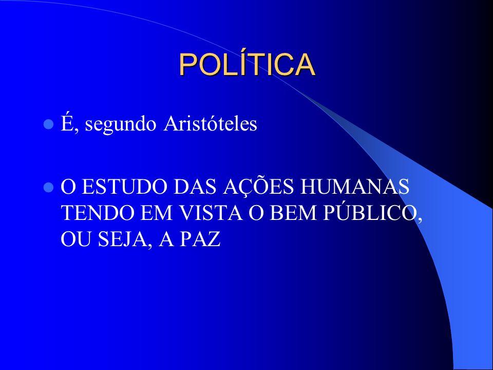 POLÍTICA É, segundo Aristóteles O ESTUDO DAS AÇÕES HUMANAS TENDO EM VISTA O BEM PÚBLICO, OU SEJA, A PAZ
