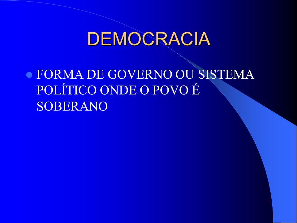 DEMOCRACIA FORMA DE GOVERNO OU SISTEMA POLÍTICO ONDE O POVO É SOBERANO
