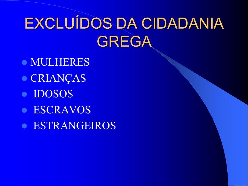 EXCLUÍDOS DA CIDADANIA GREGA MULHERES CRIANÇAS IDOSOS ESCRAVOS ESTRANGEIROS