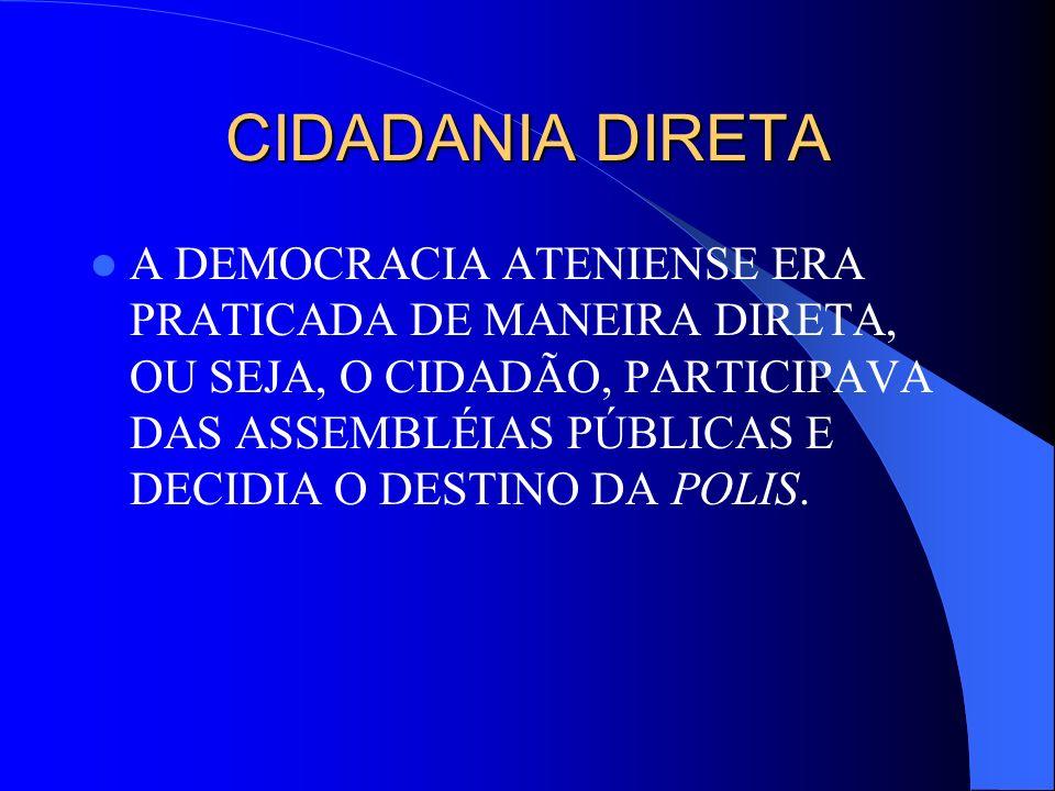 CIDADANIA DIRETA A DEMOCRACIA ATENIENSE ERA PRATICADA DE MANEIRA DIRETA, OU SEJA, O CIDADÃO, PARTICIPAVA DAS ASSEMBLÉIAS PÚBLICAS E DECIDIA O DESTINO