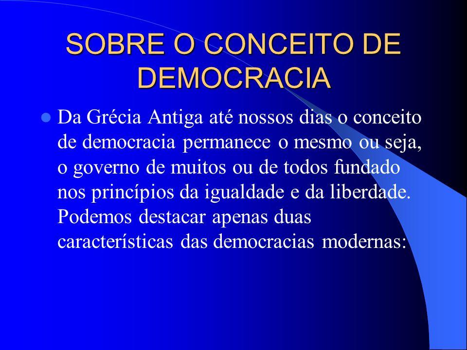 SOBRE O CONCEITO DE DEMOCRACIA Da Grécia Antiga até nossos dias o conceito de democracia permanece o mesmo ou seja, o governo de muitos ou de todos fu