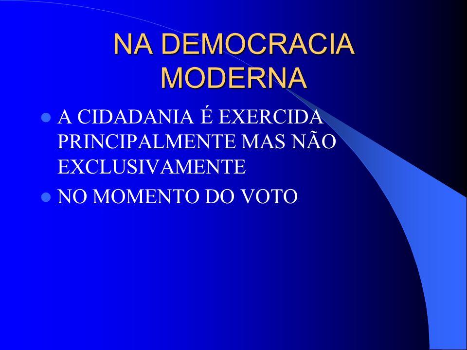 NA DEMOCRACIA MODERNA A CIDADANIA É EXERCIDA PRINCIPALMENTE MAS NÃO EXCLUSIVAMENTE NO MOMENTO DO VOTO