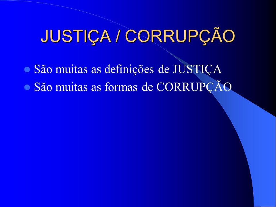 JUSTIÇA / CORRUPÇÃO São muitas as definições de JUSTIÇA São muitas as formas de CORRUPÇÃO