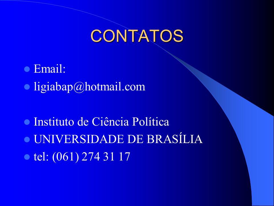 CONTATOS Email: ligiabap@hotmail.com Instituto de Ciência Política UNIVERSIDADE DE BRASÍLIA tel: (061) 274 31 17
