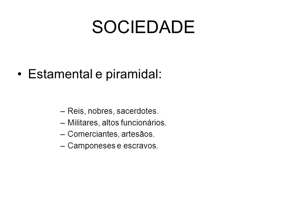 SOCIEDADE Estamental e piramidal: –Reis, nobres, sacerdotes. –Militares, altos funcionários. –Comerciantes, artesãos. –Camponeses e escravos.