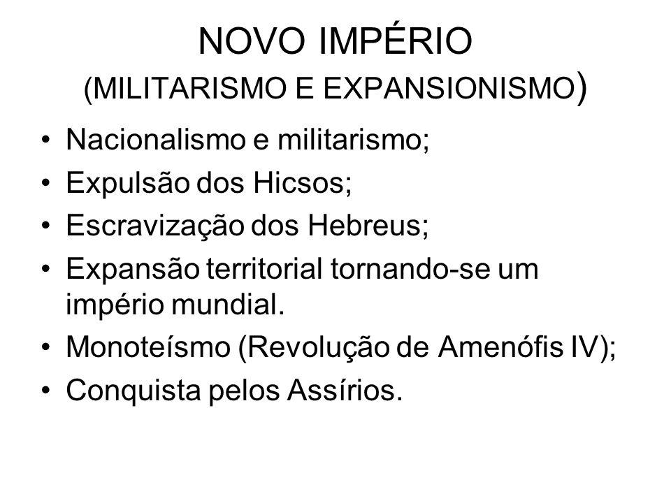 NOVO IMPÉRIO (MILITARISMO E EXPANSIONISMO ) Nacionalismo e militarismo; Expulsão dos Hicsos; Escravização dos Hebreus; Expansão territorial tornando-s