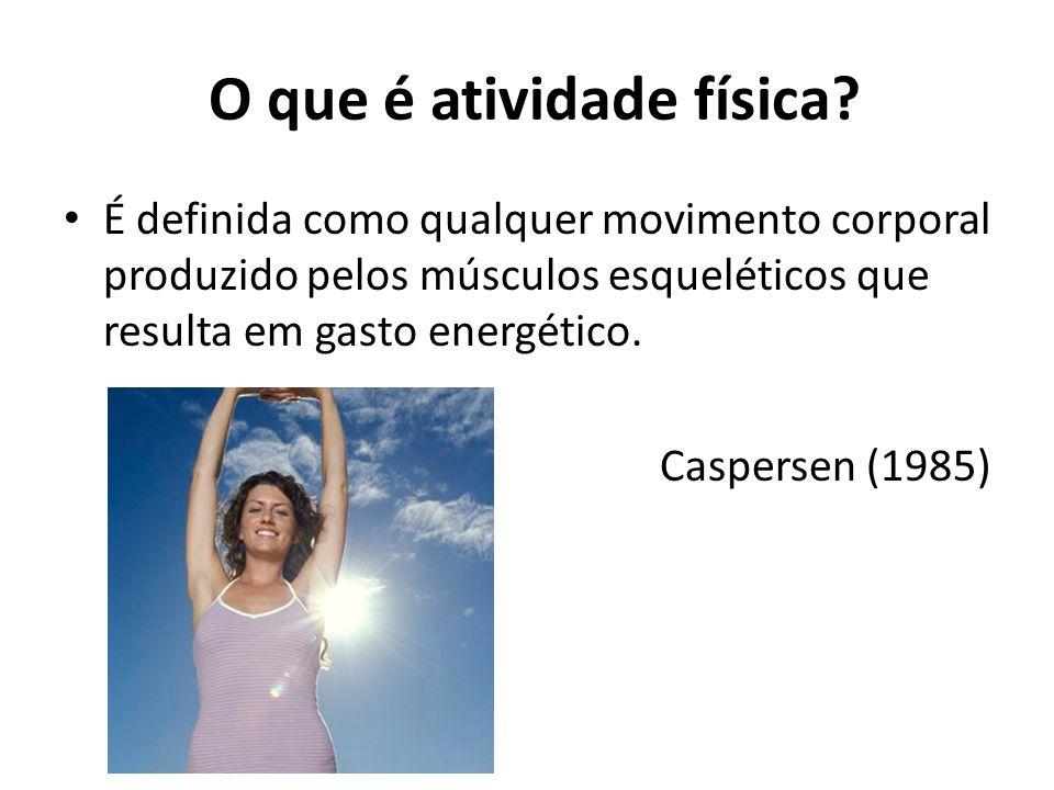 O que é atividade física? É definida como qualquer movimento corporal produzido pelos músculos esqueléticos que resulta em gasto energético. Caspersen