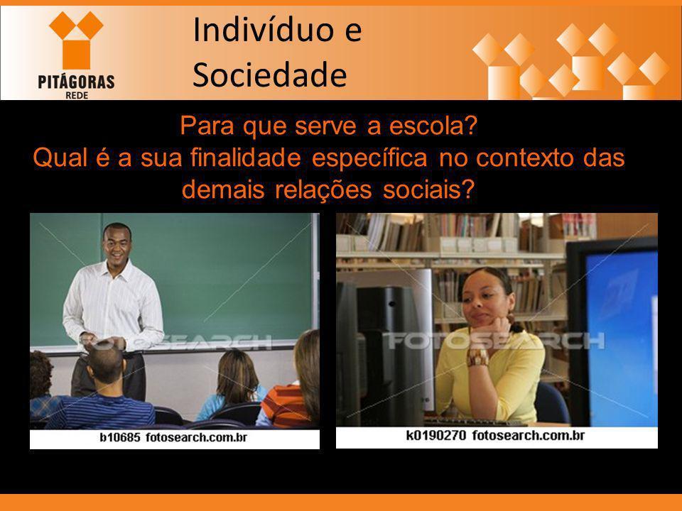 Indivíduo e Sociedade Para que serve a escola? Qual é a sua finalidade específica no contexto das demais relações sociais?