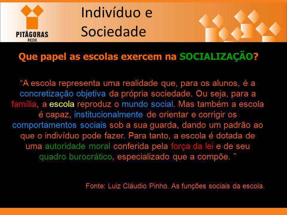 Indivíduo e Sociedade Que papel as escolas exercem na SOCIALIZAÇÃO? A escola representa uma realidade que, para os alunos, é a concretização objetiva