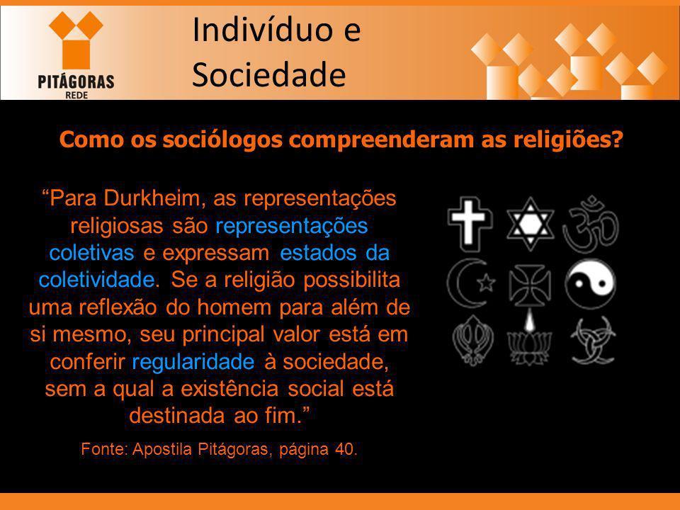 Indivíduo e Sociedade Como os sociólogos compreenderam as religiões? Para Durkheim, as representações religiosas são representações coletivas e expres