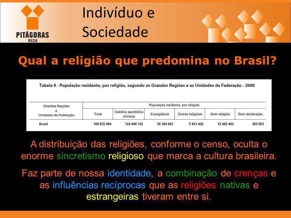 Indivíduo e Sociedade Qual a religião que predomina no Brasil? A distribuição das religiões, conforme o censo, oculta o enorme sincretismo religioso q