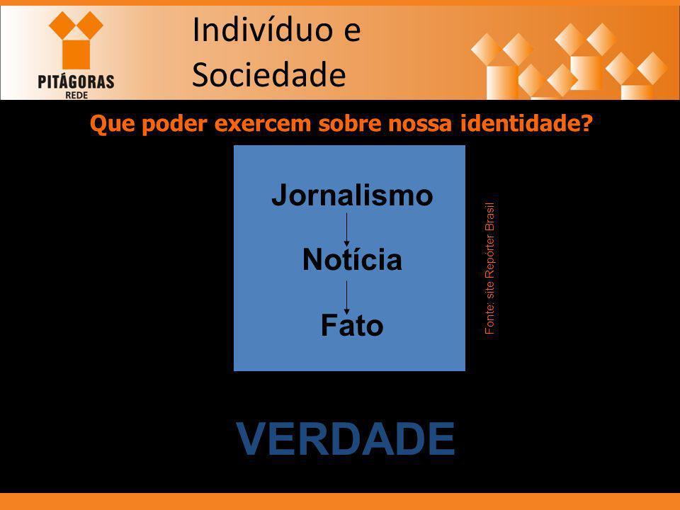 Indivíduo e Sociedade Que poder exercem sobre nossa identidade? MÍDIA Jornalismo Notícia Fato VERDADE Fonte: site Repórter Brasil