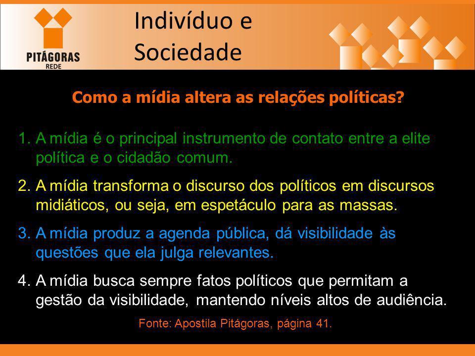 Indivíduo e Sociedade Como a mídia altera as relações políticas? 1.A mídia é o principal instrumento de contato entre a elite política e o cidadão com